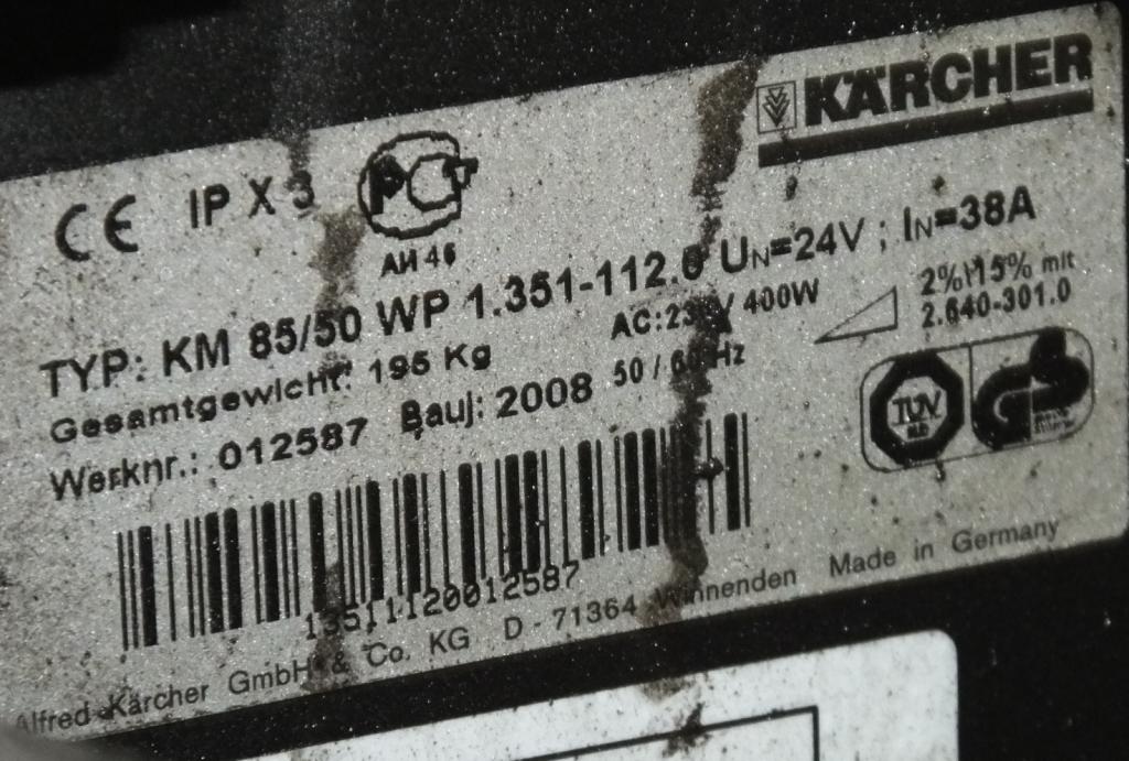 Lot 1 - Karcher KM 85/50 W Sweeper - hours run 276.8