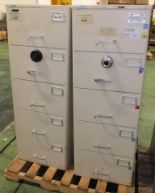 Lot 62 - 2x 5 Mosler drawer combination filing cabinets (combination unknown)