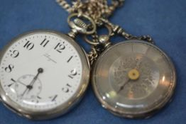 An early 20th century Longines 800 silver open face pocket watch, the signed white enamel dial