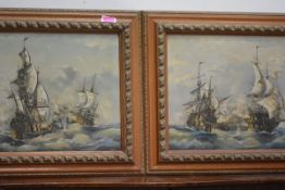 J. Harvey (British, 20th Century), 18th Century Naval Engagements, a pair of oils of canvas, each