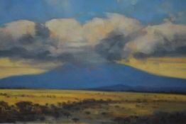 African School, 20th Century, Mount Kilimanjaro, oil on board, inscribed verso, framed. 24cm by