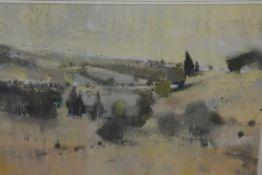 Oscar Goodall R.S.W. (Scottish, b. 1924), Summer Landscape, signed, pastel, framed. 31cm by 48cm