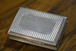 An early Victorian silver snuff box, Nathaniel Mills, Birmingham 1845, of rectangular form, the