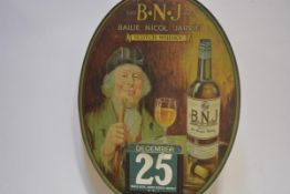 Scotch Whisky interest: an early 20th century tinplate Whisky Calendar for Bailie Nicol Jarvie