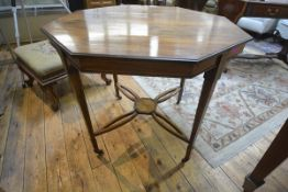 An Edwardian inlaid rosewood occasional table, the octagonal top with a band of stylised inlay