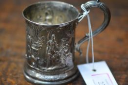 A Victorian silver christening cup, Charles Reily & George Storer, London 1842, chased with girls