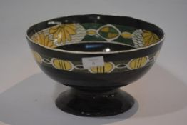 A Bough Pottery, Edinburgh pedestal bowl, decorator's monogram, KM, painted mark and date 1914,