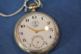An early 20th century Swiss silver (unmarked) open face pocket watch, the white enamel dial