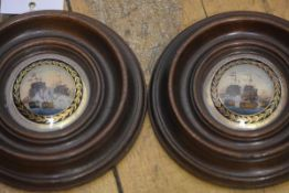 """A pair of reverse painting on convex glass of 19th century naval battles, """"Nelson's Victory"""" and """""""