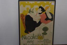 """After Henri de Toulouse-Lautrec, """"Nicolette Aime Nicolas"""", lithograph/poster, published by Grants of"""