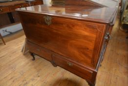 A string-inlaid mahogany chest on stand, 18th century, possibly Irish, the chest with a pair of