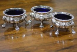 A set of three large Edwardian silver salts, Barker Brothers, Birmingham 1905, in the George III