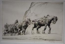 "George Soper (British, 1870-1942), ""The Quarry Team"", etching, signed in pencil, Robert"