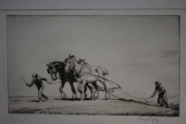"""George Soper (British, 1870-1942), """"Harrowing"""", etching, signed in pencil, framed. 140mm by 243mm"""
