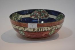A Bough Pottery, Edinburgh fruit bowl, decorator's monogram IW, painted mark and dated 1914, the
