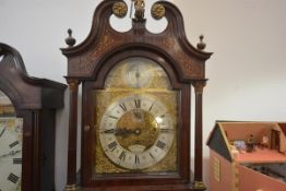 A good Edwardian cased inlaid and satinwood crossbanded mahogany longcase clock, the gilt-brass dial