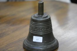 """A bronze bell, in 17th century style, cast with linear bands and the inscription """"Jacobus Monteith"""