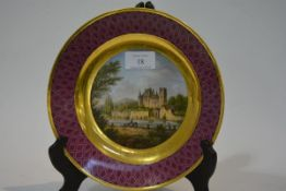 A 19th century Sevres porcelain named view cabinet plate, Chateau de Nemours, painted with a mounted