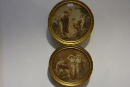 A pair of early 19th century stipple engravings, circular, each depicting Classical figures, in