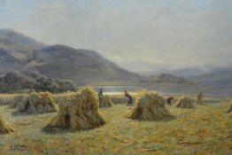 "Duncan Cameron (Scottish, 1837-1916), ""A Crofters Harvest"", signed lower left, oil on canvas, labels"