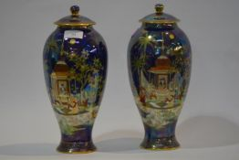 A pair of Wiltshaw & Robinson, Carlton Ware baluster jars and covers, in the Persian pattern,