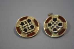 A pair of Scottish bloodstone and jasper pendant earrings, mounted in yellow metal each of