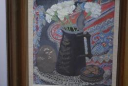 Alice Sayer (Scottish, Contemporary), White Carnations in a Black Jug, signed lower right, with