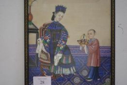 Chinese School, c. 1900, A Court lady being offered a basket of flowers, the seated lady depicted in