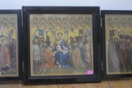 After Stefan Lochner, a late 19th century table top triptych after the altarpiece of the Patron