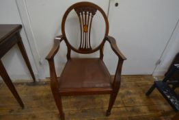 A set of eight Edwardian inlaid mahogany dining chairs in 18th century style, each with oval back