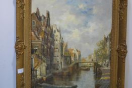 "Jan Gerard Smits (Dutch, 1823-1910), ""Old Rotterdam"", signed lower right, oil on canvas, in a gilt-"