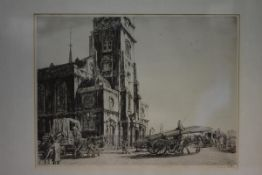 Francis Dodd R.A., N.E.A.C., (1874-1949), St. Clement Danes, London, etching, signed in pencil lower