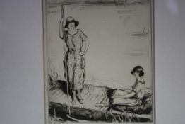 Lewis C.E. Baumer (British, 1878-1963), Punting, etching, signed in pencil, monogrammed in the