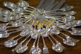 A George V silver flatware service for twelve, Goldsmiths & Silversmiths Co. Ltd., London 1912,