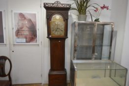 A Scottish mahogany longcase clock, the late 18th century gilt-brass and silvered dial signed J.