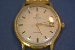 A gentleman's Omega Seamaster Automatic gold-plated and stainless steel wristwatch, c. 1969, the