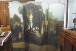 A painted leather four-fold room screen, early 20th century, depicting a fete champetre in an 18th