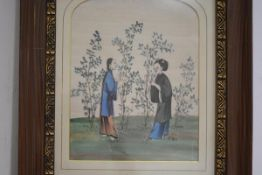 Chinese School, c. 1900, Picking Tea, two women standing picking leaves, watercolour on rice