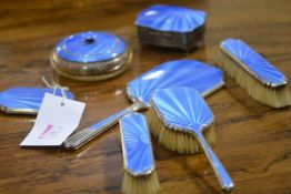 A matched set of George V silver and sky blue enamel dressing table articles, various years