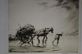 "George Soper (British, 1870-1942), ""Carting Seaweed"", etching, signed in pencil, Robert"