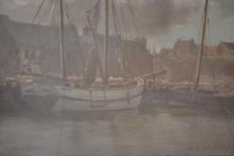 "David Macbeth Sutherland R.S.A. (Scottish 1883-1974), ""Pulteney Harbour"" (near Wick), signed lower"
