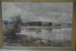 James Scott Kinnear (Scottish, 1846-1917), Cattle Watering by Loch Leven, signed lower left,