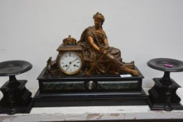 A 19th century gilt-metal mounted slate and marble clock garniture, late 19th century, the