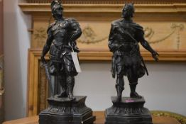 A pair of 19th century spelter figures of Roman Warriors, after Wagner, each with ebonised