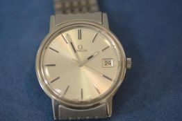 A gentleman's Omega stainless steel wristwatch, 1970s, the silvered dial with baton numerals and
