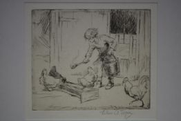 Eileen Alice Soper R.M.S. (British 1905-1990), Feeding the Chickens, etching, signed in pencil,