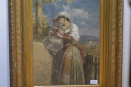 George Clark Stanton R.S.A. (1832-94), Italian Mother and Child, signed lower left, watercolour,