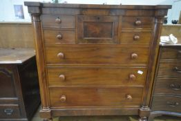 """A Victorian mahogany """"Scotch"""" chest, with inverted breakfront top over a conforming case fitted with"""