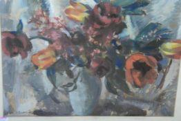 "Lena L. Duncan Alexander (Scottish, 1899-1983), ""Dark Flowers"", signed lower left, pastel, framed."