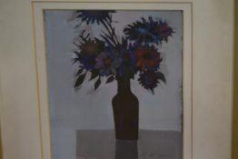 "Margaret McGavin (Scottish, 20th Century), ""Dark Flowers"", signed in pencil, oil, framed, label"